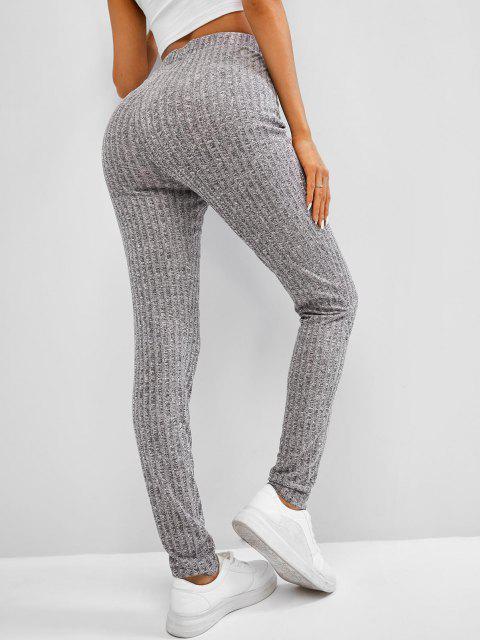 women's ZAFUL Heathered Drawstring Knitted Leggings - DARK GRAY L Mobile