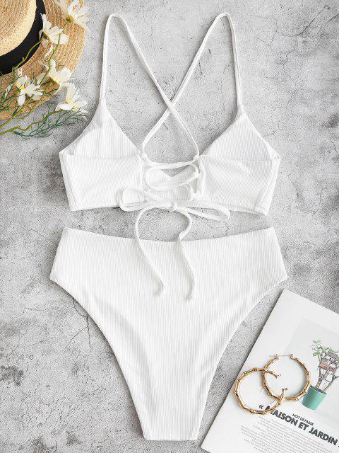 ZAFUL Bikini Badebekleidung mit Gerippten Schnürung und Hohem Schnitt - Weiß S Mobile