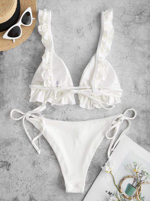 ZAFUL Bikini Acanalado con Volantes - Blanco L Mobile