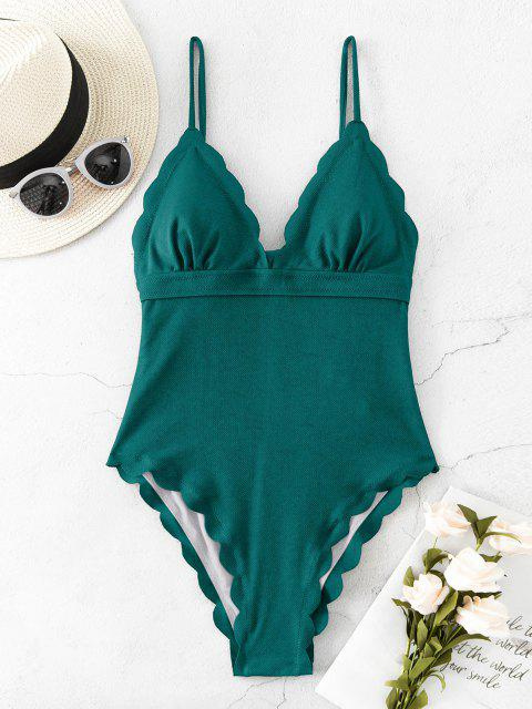 lady ZAFUL Textured Scalloped One-piece Swimsuit - PEACOCK BLUE M Mobile