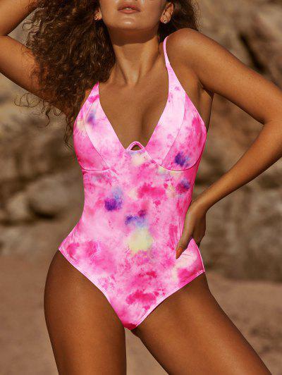 ZAFUL Tie Dye Underwire One-piece Swimsuit - Hot Pink S