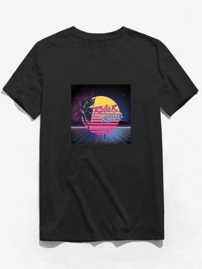 Moon Night Palm Tree Graphic Print Basic T-shirt - Black Xs