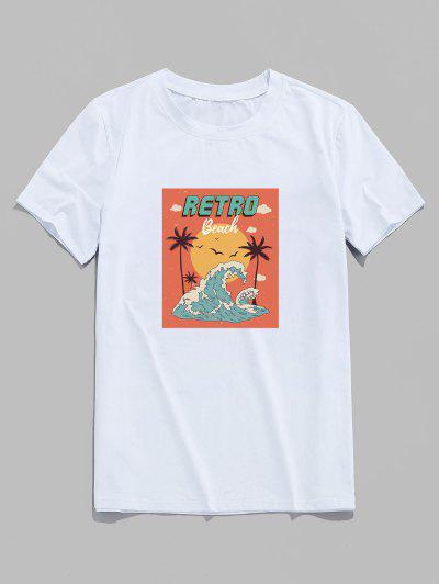 T-Shirt Vintage Con Stampa Alberi Di Palma E Onde Di Spiaggia - Bianca Xs