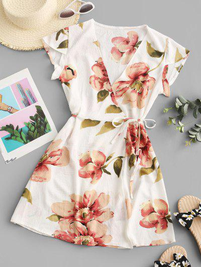 Flutter Sleeve Floral Wrap Mini Dress - Light Coffee M