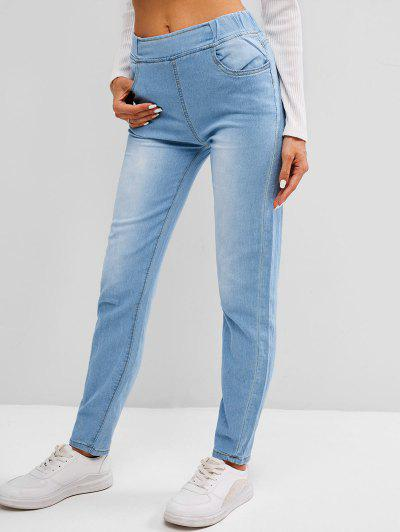 Pockets Light Wash Skinny Jeans - Light Blue Xl