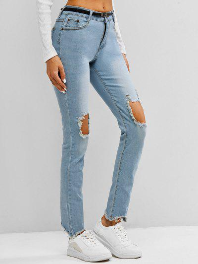 Faded Frayed Destroyed Skinny Jeans - Light Blue L