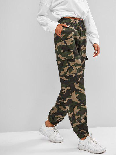 Camouflage Print Tapered Cargo Pants - Multi L