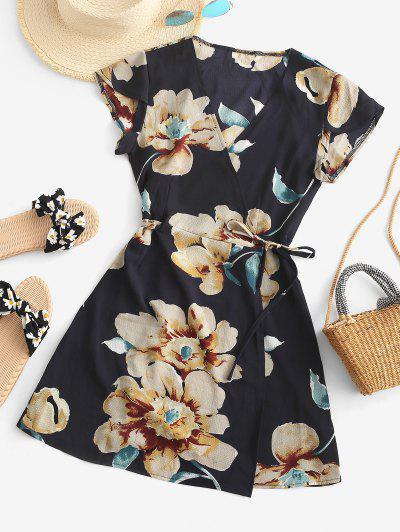 Flutter Sleeve Floral Wrap Mini Dress - Deep Blue S