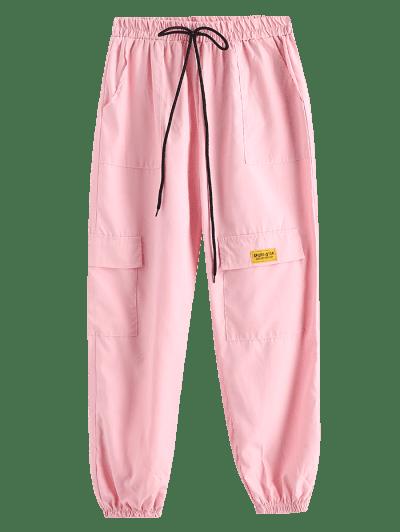 Letter Applique Bowknot Detail Cargo Pants