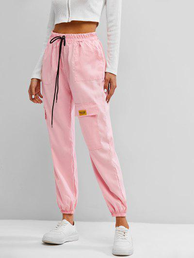 Letter Applique Bowknot Detail Cargo Pants - Light Pink S