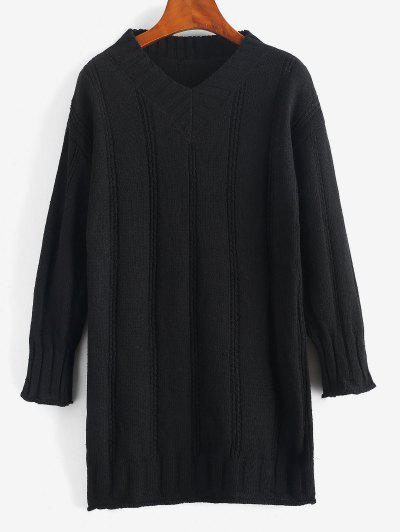 Rolled Trim Pointelle Knit Tunic Sweater Dress - Black