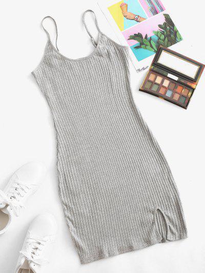 Wide Rib Bodycon Cami Dress - Gray M