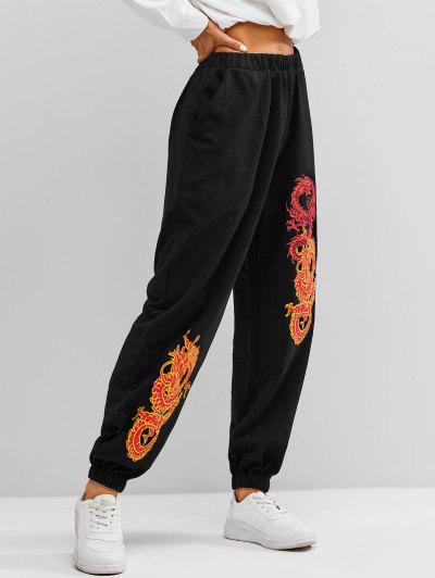 Dragon Graphic Oriental Pocket Jogger Sweatpants - Black L