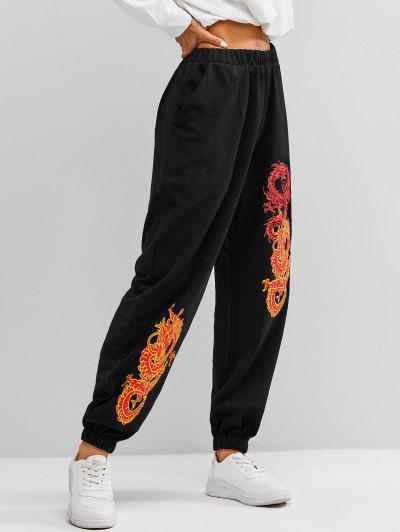 Pantalones Deportivos Con Bolsillo Y Estampado De Dragón - Negro Xl