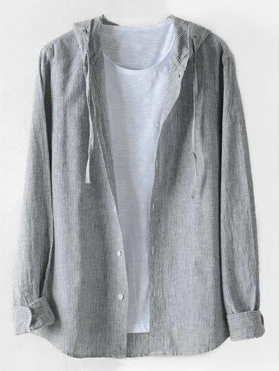 ZAFUL Striped Print Long Sleeve Hooded Shirt - Gray 2xl