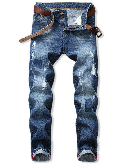 Distressed Scratch Long Ripped Denim Pants - Blue 30