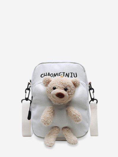 Cute Plushy Bear Canvas Small Crossbody Bag - White