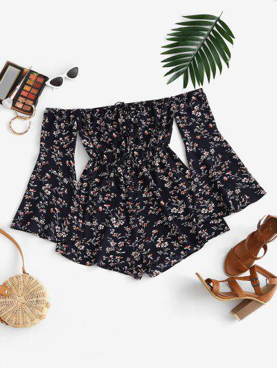 ZAFUL Floral Flare Sleeve Off Shoulder Wide Leg Romper - Deep Blue M
