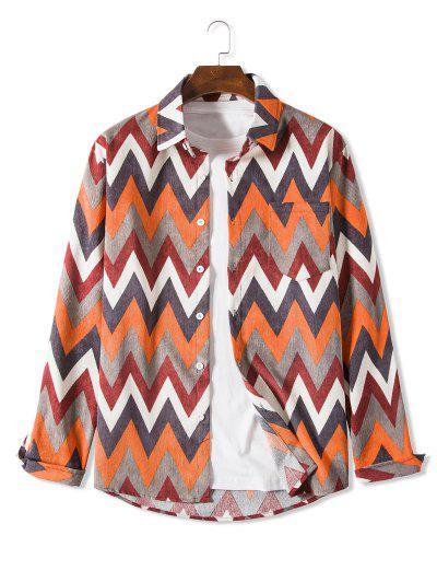 Pocket Zigzag Pattern Casual Corduroy Shirt - Tiger Orange L