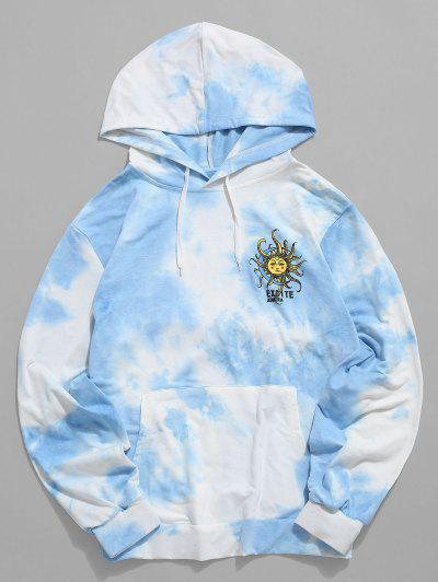 Sun Tie Dye Print Kangaroo Pocket Hoodie - Light Blue Xl