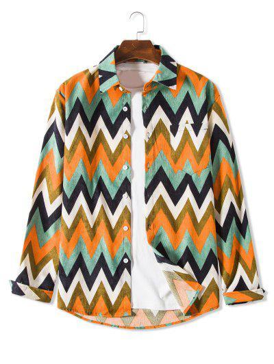 Pocket Zigzag Pattern Casual Corduroy Shirt - Light Green L