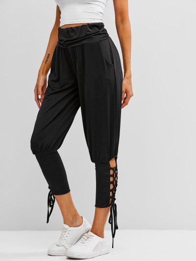 Ruched Waist Lace Up Yoga Sports Pants - Black M