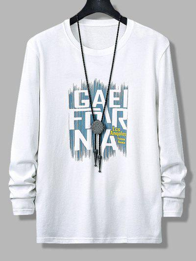 Letters Graphic Print Long Sleeve T-shirt - White Xs