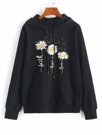Flower Slogan Graphic Kangaroo Pocket Hoodie - Black S