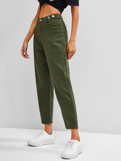 High Waisted Buttoned Tabs Tapered Jeans - Seaweed Green S