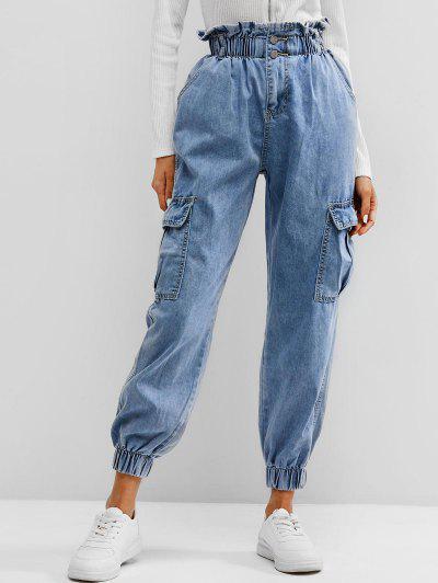 Bolsos Com Cinto Paperbag Jeans - Azul M