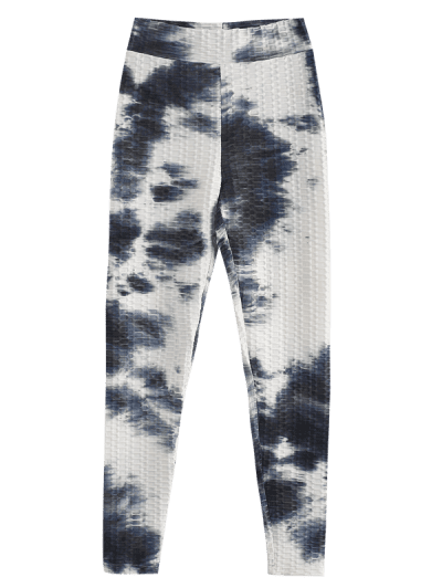 ZAFUL Tie Dye Textured High Waisted Gym Leggings