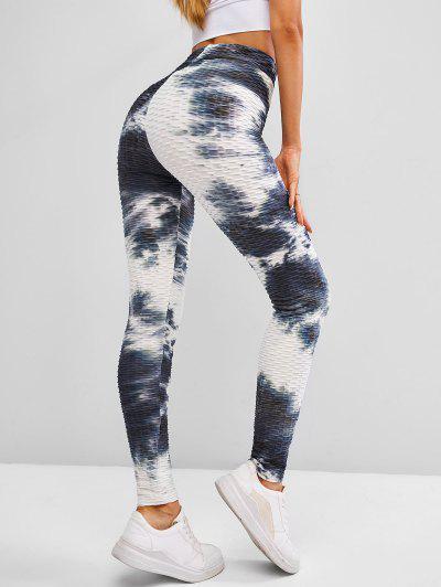 ZAFUL Tie Dye Textured High Waisted Gym Leggings - Multi L