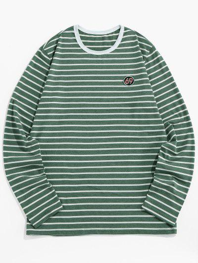 ZAFUL T-shirt De Manga Comprida Com Bordado Listrado - Verde M