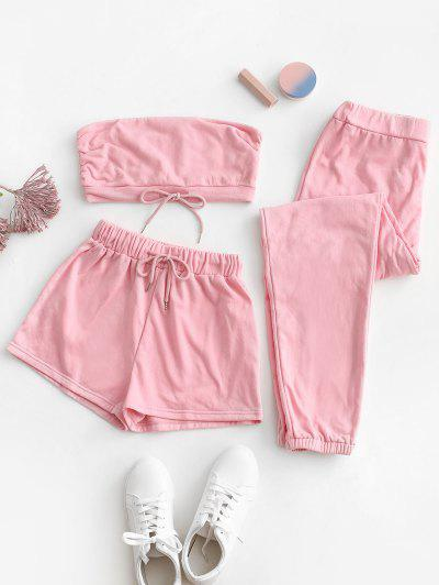 Strapless Drawstring Active Three Piece Set - Light Pink S