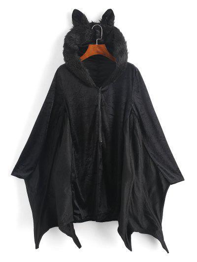 Halloween Velvet Hooded Poncho Coat - Black M