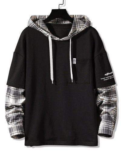 Letter Print Plaid Faux Twinset Hoodie - Black M