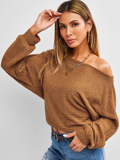 ZAFUL Skew Neck Batwing Sleeve Crop Sweater - Coffee S