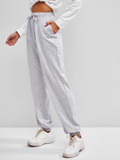 ZAFUL Drawstring Pintuck Sweatpants - Platinum S