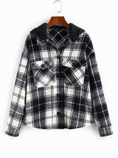 ZAFUL Detachable Hood Plaid Pocket Coat - Black M