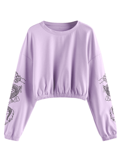 ZAFUL Dragon Print Oriental Drop Shoulder Crop Sweatshirt