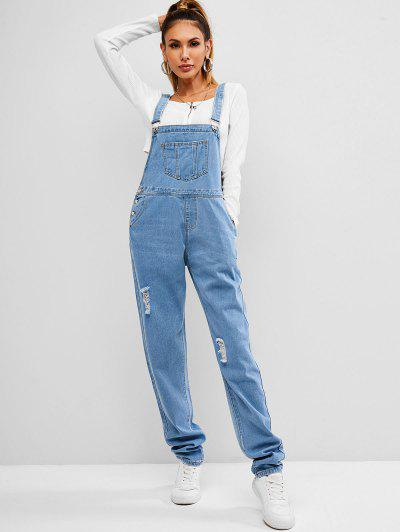 Ripped Denim Overall - Blue Xl