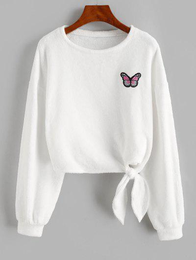 ZAFUL Butterfly Patched Fluffy Tie Hem Sweatshirt - White S