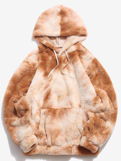 Kangaroo Pocket Tie Dye Pattern Faux Fur Hoodie - Light Coffee S