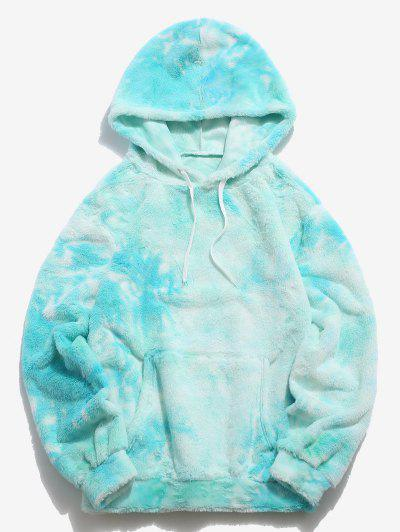 Kangaroo Pocket Tie Dye Pattern Faux Fur Hoodie - Light Blue Xl