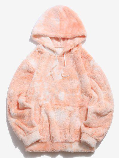 Kangaroo Pocket Tie Dye Pattern Faux Fur Hoodie - Light Orange L