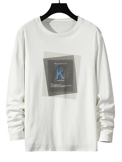 Striped K Letter Geometric Pattern Basic T-shirt - White L