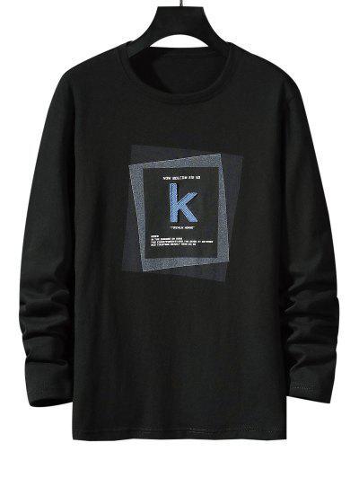 T-shirt De Base Rayé Géométrique Lettre K - Noir Xs