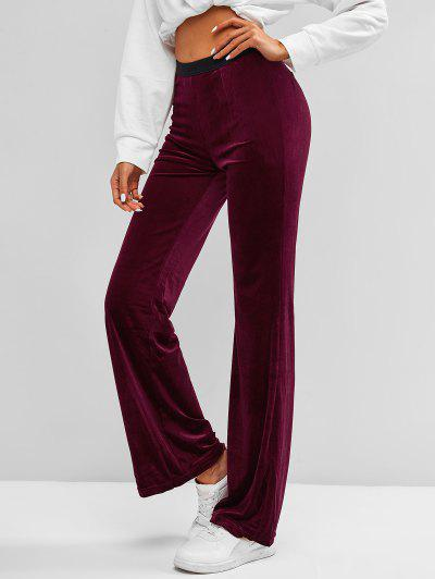 Bicolor Velvet Straight Pants - Deep Red