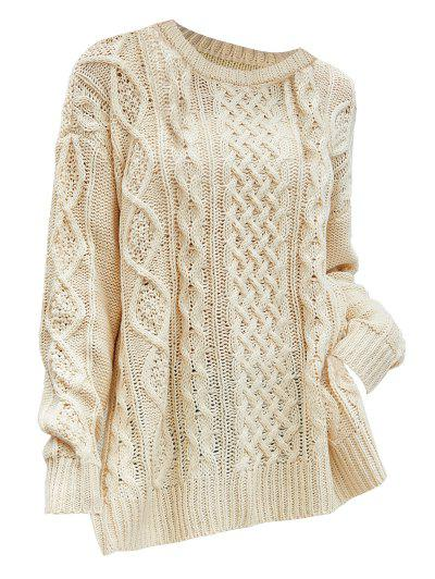 Plus Size Side Slit Chunky Cable Knit Sweater - Light Yellow M