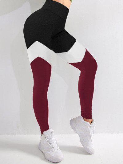 Legging De Sport En Blocs De Couleurs à Taille Haute - Rouge Foncé L
